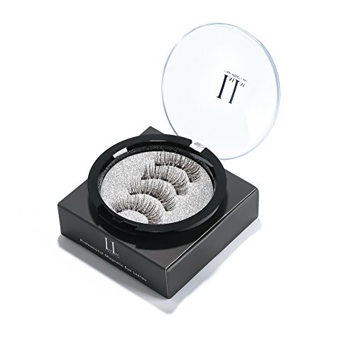 Magnetic Eyelashes 3 Magnets Magnetic Lashes 3 Lash Magnetic Fake Eye Lashes 3D Reusable Soft False Eyelashes No Glue Cover the Entire Eyelids for Natural Look (4 PCS) Lash False Eyelashes