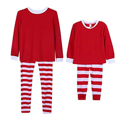 2db786e1 Q&Y Holiday Stripe Matching Family Christmas Pajamas Set Homewear Outfits  Red/White Kids 6T