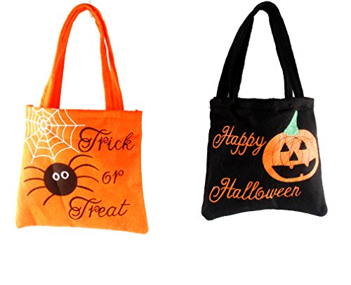 (HOMEMIX 2pcs Halloween Candy Bags Small Trick Or Treat Candy Snacks Tote Bags Gift Bags for Halloween Party & Holiday)