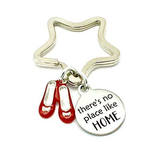 (There's No Place Like Home, Wizard of OZ Inspired, Laser Etched Star Keyring)