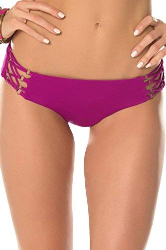 Becca by Rebecca Virtue Women's Tab Side Hipster Bikini Bottom Mulberry L (Ring Hipster Bottoms Side)
