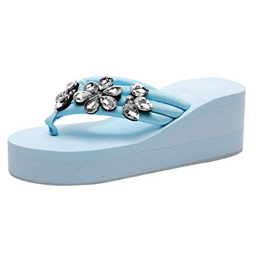 SMALLE_Shoes Wedge Flip Flops for Women,Women's High Heel Platform Flip Flops Rhinestone Sandals Summer Beach Slippers Blue ()