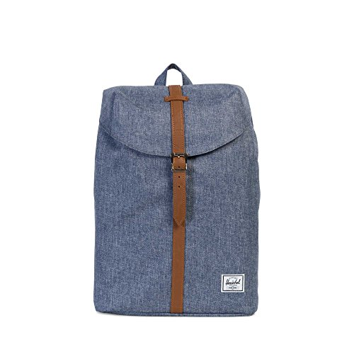 Mid Hatch Design - Herschel Supply Co. Post Mid-Volume, Dark Chambray Crosshatch/Tan Synthetic Leather