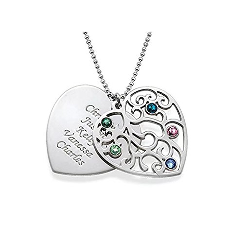 Personalized Birthstone Heart Pendant Necklace in Sterling Silver Engraved with Any Name or Message