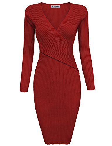 TAM-Ware-Womens-Stylish-Surplice-Wrap-Bodycon-Knit-Midi-Dress