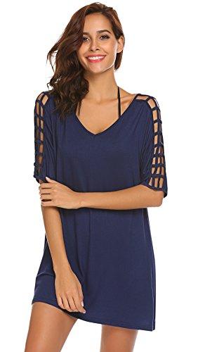 SimpleFun Beach Wear Summer Beach Dresses for Women Loose T-Shirt Bikini Swimwear Cover Up(Navy Blue,XXL)
