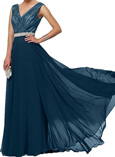 Bodenlang A Spitze Blau Ausschnitt Linie Festlichkleider Royal Damen Tinte Charmant Brautmutterkleider Rock V Abendkleider Blau Chiffon A7vxq