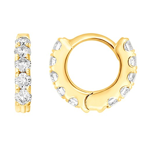 Unisex 10k Yellow Gold 1/3 cttw Round-Cut Diamonds Helix Piercing Hoop Earrings (Helix Hoop Collection#1) by eSparkle