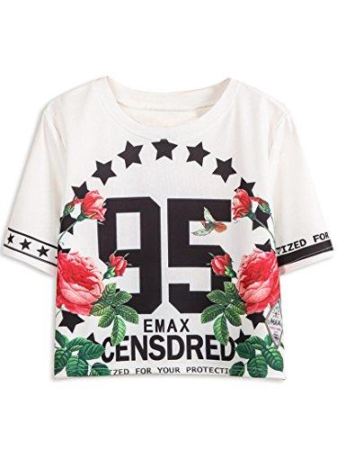 Persun Womens Floral Sleeve T shirt