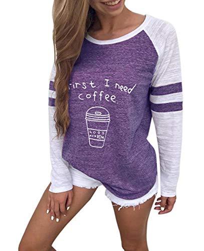 Tops Rond Hauts Automne Blouse Fashion Sweat Chandail Col Shirts Longues Shirts Manches Tees Jumpers Violet1 Femmes T Printemps Pulls et Patchwork Imprime xYw4XX