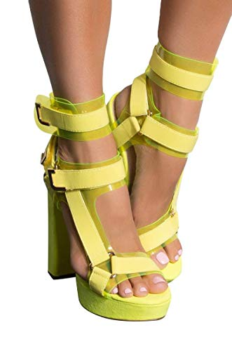 AKIRA Women's PVC Utility Buckle Strappy Chunky Super High Heel Platform Pleaser Sandals-NEON YELLOW_8.5