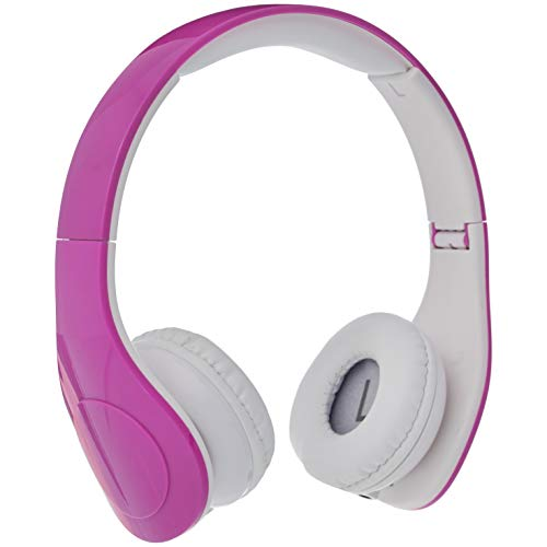AmazonBasics Volume Limited Wired Over-Ear Headphones for Kids with Two Ports for Sharing, Pink