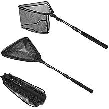 PLUSINNO Fishing Net Fish Landing Net, Foldable Collapsible Telescopic Pole Handle, Durable Nylon Material Mesh, Safe Fish Catching Releasing