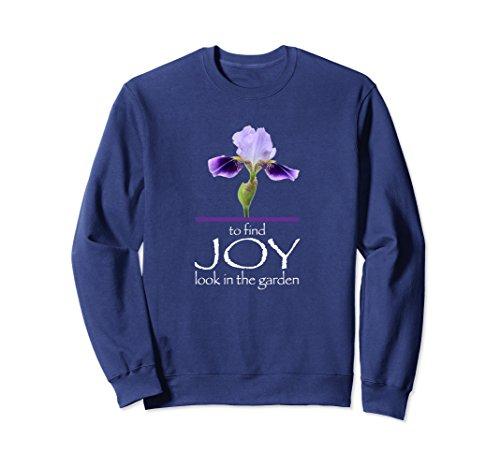 Small Iris Garden - Unisex Joy In The Garden Sweatshirt with Purple Iris Small Navy