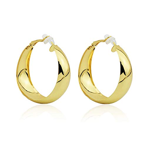 Aifeer Stainless Steel High Polished Large Hoop Earrings Fashion Wide Hoop Clip on Earrings for Non Pierced Ears Lightweight Gold 4cm
