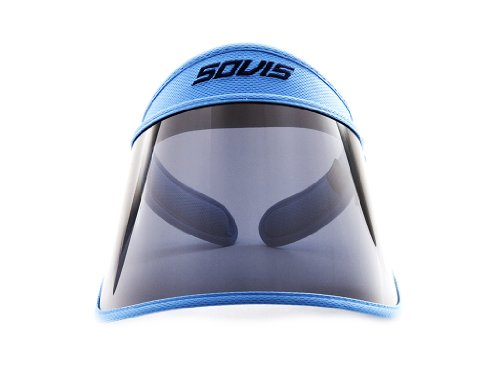 78195a691587c SOVIS Sky Blue Extra Length over 99% UVB and UVA2   97.2% UVA1 protection  Facial Protection Sun Cap Solar Visor Hat Worldwide Patented