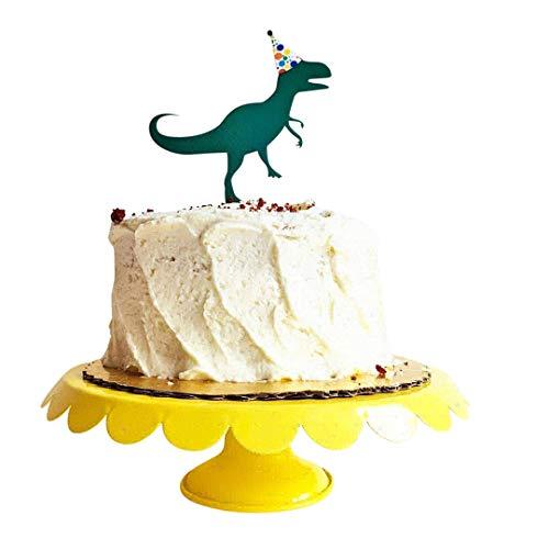 Birthday Dinosaur Acrylic Cake Topper for Any Birthday Party - Trex, Tyrannosaurus Rex Party Hat Polka Dot