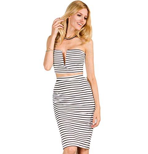Persun Women Stripe Pencil Skirt