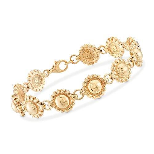 Ross-Simons Italian 18kt Yellow Gold Over Sterling Silver Beaded Frame Bracelet ()