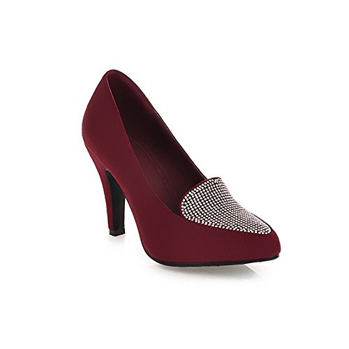 VogueZone009 Womens Pointed Closed Toe PU Frosted High Heels Solid Pump Shoes with Glass Diamond Red WpQCTYKW