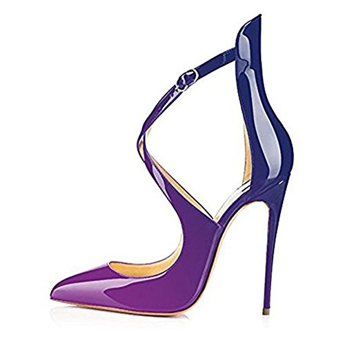 High Purple Wedding Strap Women's Gradient Dress Pointed Toe Shoes Stiletto Party Strappy Pumps Ankle Heels onlymaker Crisscross Ladies BXqOp