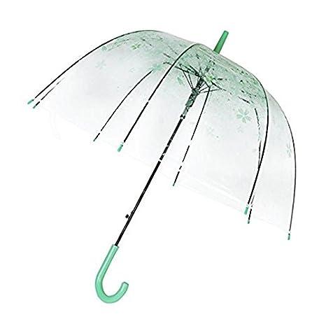 espeedy mujeres lluvia sol paraguas mango largo Cherry Blossom seta princesa transparente paraguas verde Verde: Amazon.es: Hogar