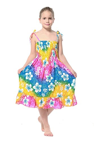 Aloha Fashion Girl Rainbow Floral Hawaiian Luau Dress in Rainbow Floral in Various Styles
