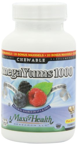 Maxi Health Omega Yums 1000 - Kid Friendly - Fruity Burst Flavor - 110 Softgel Capsules - Kosher (Omega Yums compare prices)