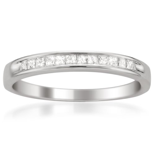 14k White Gold Princess-Cut Diamond Wedding Band (1/4cttw, I-J Color, I2-I3 Clarity), Size 5.5