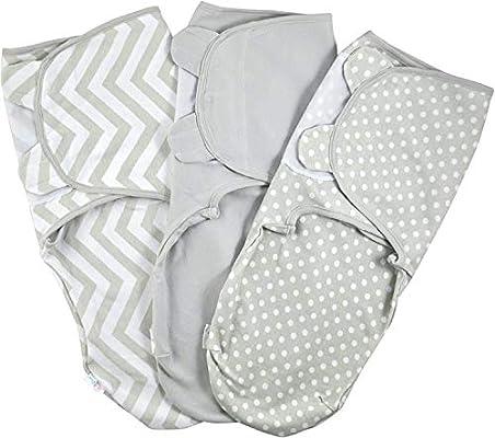 Manta Envolvente para Bebé y Recien Nacido 1.0 TOG – 3x Saco de Dormir Manta de Arrullo Cobija 100% Algodón 220GSM - Gris 0-3 Meses: Amazon.es: Bebé