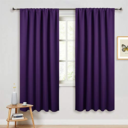 (PONY DANCE Blackout Window Curtains - Energy Saving Thermal Insulated Blackout Curtains/Window Coverings with Rod Pocket Living Room Home Decoration, 52 W x 72 L, Royal Purple, 2 Panels)