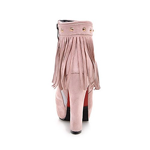 AgooLar Women's Fringed High Heels Round Closed Toe Imitated Suede Zipper Boots Pink SEFDUM0lV