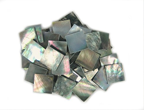 Yuan's 25 Pieces 1.5cm(0.59'') Square Sea Black Abalone Shell. One Side Polished.( 1.5x1.5cm(0.59''x0.59'')x25 pieces, Black Tahiti Mother of Pearl) ()