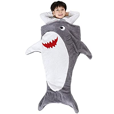 SINOGEM Shark Tail Blanket - Plush Animal Sleeping Bag Blanket Shark Toys Kids (Grey)