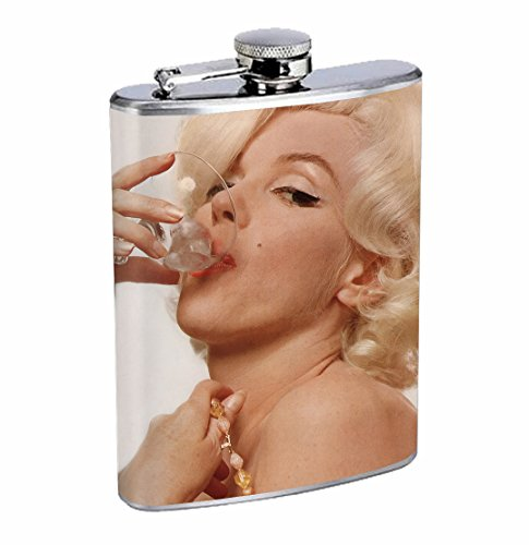 Marilyn Monroe Drinking Martini Classic Sexy 8oz Stainless Steel Flask Drinking Whiskey