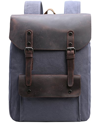 "Canvas Backpack Iswee Vintage Rucksack Computers 15.6"" Laptop Backpacks Bookbag for Men and Women - Over Laptop Flap Case"
