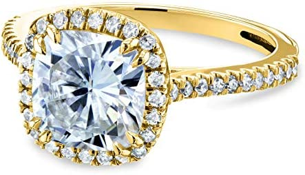 Kobelli Forever One Cushion Moissanite Halo Engagement Ring 2 1/4 CTW 14k Yellow Gold (DEF/VS, GH/I)