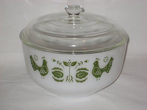 Vintage Federal Milk Glass Green Rooster Friendship Dutch 2 1/2 Qt. Bowl (Federal Milk Glass)