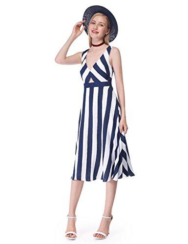 Alisa Sans Manches Pan Partie Nautique Rayé Robe Bleue Marine 05676