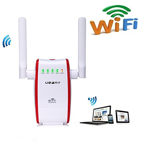 Wireless Router,URANT 300Mbps Wifi Router Network Extender Dual Band Long Range Amplifier AP/ Router/ Repeater Modes Signal Booster Complies with IEEE802.11n/b/g Dual Antenna Under 2.4GHz -Red