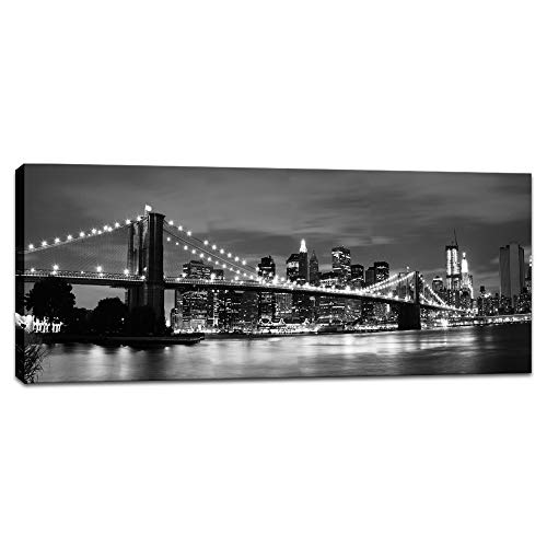 - Innopics Brooklyn Bridge Large Canvas Wall Art New York Black and White Cityscape Picture Print Manhattan Night Scenery Printed Painting Modern Home Decor Framed for Office Living Room Decoration