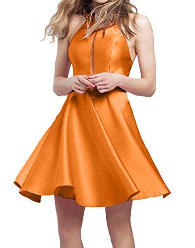 Heimkehr Mini Neu Satin A Kurzes Tanzekleider Damen Orange 2018 Abendkleider Cocktailkleider linie Charmant zF0an