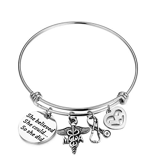 ENSIANTH Nurse Bracelet She Believed She Could So She Did Bracelet Nurse Hat Medical RN Charm Bracelet Nurse Graduation Gift (MA -