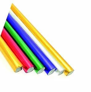 Creativity International - Papel con revestimiento de aluminio para manualidades (6 unidades, 50 x 70 cm, acabado metálico), color rojo, verde, morado, plateado y dorado