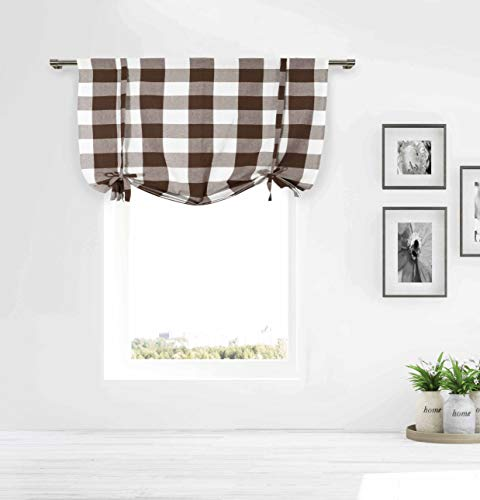 Chocolate Brown and White Tie-up Window Curtain Shade Large Buffalo Check 100% Cotton 42 in Wide X 63 in Long