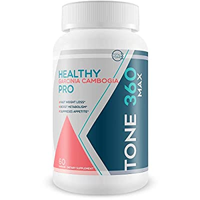 Tone 360 Max - Healthy Garcinia Cambogia Pro - Fast Weight Loss - Boost Metabolism - Suppress Appetite - Potassium Chloride Garcinia Cambogia Weight Pills - Garcinia Cambogia 100% Pure Extract