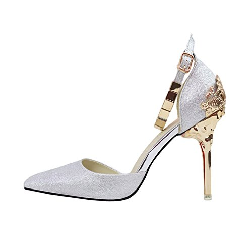 CYBLING Fashion Women Pointed Toe Stiletto Heels Dress Pumps with Ankle Straps Wedding Shoes Silver VMqpcW