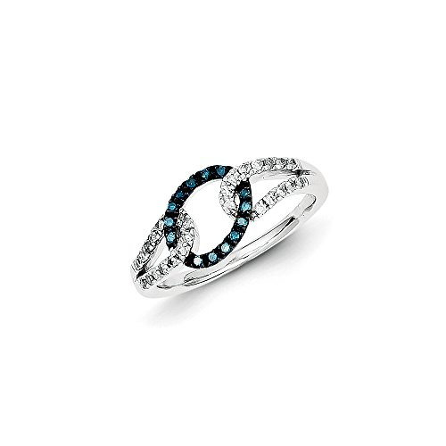 .23 Cttw (I2-I3 clarity) Blue&H-I White Diamond Oval Loop Ring in Sterling Silver