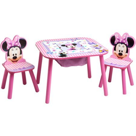 Minnie Mouse Storage Table and Chairs Set by Disney 23.50 x 23.50 x 17.50 Inches