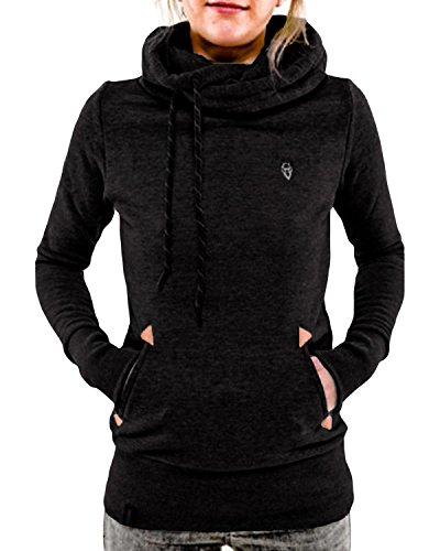 - StyleDome Women's Cotton High Collar Hoodies Long Sleeve Sweatshirt Pullover Coat Black US 16